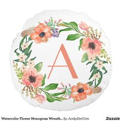 Watercolor Flower Monogram Wreath Salmon Peach Round Pillow @zazzle #junkydotcom Aug 3 2016  4x