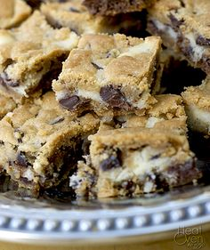 Cheesecake Chocolate Chip Cookie Bars ~ Heat Oven to 350