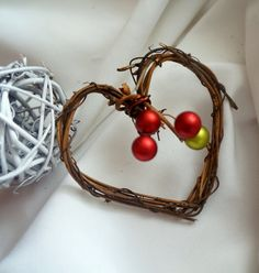 Rustic Christmas Decorations Mini Vine Heart by HandmadeAffair