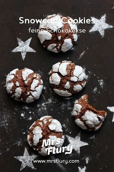 Snowcap Cookies Rezept - Amerikanische Schokokekse Mrs Flury Easy Chocolate Chip Cookies, Chocolate Crinkles, Chocolate Biscuits, Cooking Chocolate, Salted Chocolate, Cheesecake, Peanut Butter Desserts, No Bake Cookies, Christmas Baking