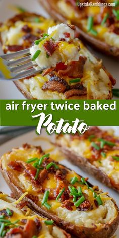 These easy air fryer twice baked potatoes are a creamy and cheesy side dish that is a perfect addition any meal. Hearty baked potatoes are filled with mashed potatoes, sour cream and cheese and topped with bacon and chives. Air Fryer Recipes Snacks, Air Fryer Recipes Low Carb, Air Frier Recipes, Air Fryer Dinner Recipes, Air Fryer Recipes Potatoes, Recipes Dinner, Breakfast Recipes, Dessert Recipes, Cooks Air Fryer