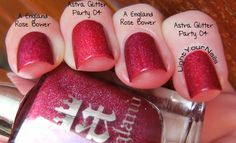 Astra Glitter Party 04 Red vs A England Rose Bower comparison #nails #nailpolish #red #holographic #astra #aengland #comparison