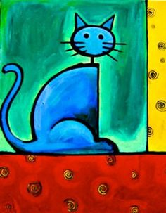 Simple but vibrant, this piece is the perfect addition to anyone who loves cats or just loves brightly colored artwork.   This whimsical animal art has a humorous twist and has been enthusiastically received by art collectors, parents and the young-at-heart