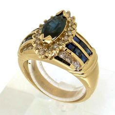 Gorgeous ring in yellow gold set with brilliant cut diamonds & sapphire Vintage Silver Rings, Vintage Jewelry, Silver Engagement Rings, Wedding Rings, Golden Ring, Ring Designs, Sapphire, Marquise Cut, Gold Set