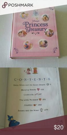 Disney Princesses (572 Pages) Heavy Book 1. Snow White and the Seven Dwarfs  14 Chapters   2. Sleeping Beauty  10 Chapters   3. Cinderella  12 Chapters   4. The Little Teapot  14 Chapters   5. Aladdin  15 Chapters   6. Beauty and the Beast  13 Chapters   Book is filled with hundreds of colorful illustrations   Hardback  572 Pages Disney  Other