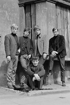 """The Rolling Stones, 1963.  Guess this was when smokin' was still """"cool""""....everyone of them have a cigarette in their hands."""