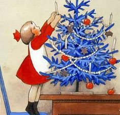 Illustration by Finnish painter Rudolf Koivu ********** Today, December is Lille Juleaften , Little Christmas Eve, in Norway. Christmas Past, Blue Christmas, Retro Christmas, Christmas Greetings, Christmas Holidays, Christmas Decorations, Elsa Beskow, Illustration Noel, Christmas Illustration
