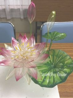 school 睡蓮 クチナシ Plastic Bottle Flowers, Plastic Bottle Crafts, Plastic Art, Nylon Flowers, Wire Flowers, Faux Flowers, Recycled Crafts, Resin Crafts, Resin Art