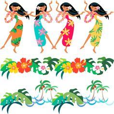 Bailarinas hawaianas, imagen vectorial. Moana Birthday Party, Birthday Parties, Tiki Hawaii, Hawaiian Art, Pallet Painting, Safari Party, Tropical Party, Cat Party, Illustration Sketches
