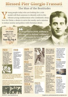 """Happy Feast Day of Bl Pier Giorgio Frassati – July 4 """"The Man of Eight Beatitudes"""" #pinterest Participating in a Church-organized demonstration in Rome, he withstood police violence and rallied the other young people by grabbing the banner which the police had knocked out of someone else's hands. He held it even higher while using the pole to ward off their blows.One night a group of fascists broke into his family's home..........."""