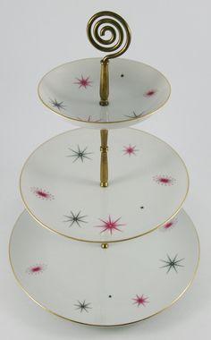 Three Tier Atomic Space Age Starburst Dessert Tray