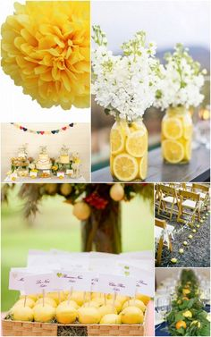 lemons in mason jars with white flowers