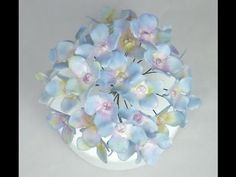 How to make Wired Hydrangea Sugar Flowers with Flower Paste/Gumpaste Tutorial Fancy Cakes by Linda - YouTube