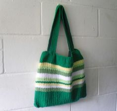 Hand Knitted Green Striped Tote Bag FREE UK SHIPPING £38.00