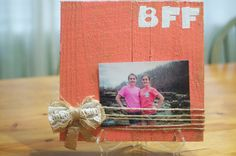 BFF-Handmade, rustic, wooden picture frame.
