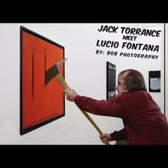 Jack Torrance meet Lucio Fontana #jacktorrance #luciofontana #art #mashup #funnypictures #museum #gallery #jack #shining #stanleykubrick