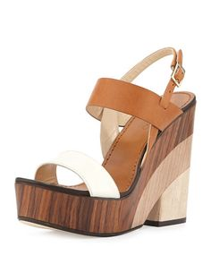 X2R57 Jimmy Choo Notion Tricolor Wooden Wedge Sandal, White/Caramel