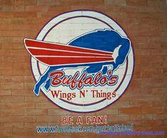 Buffalo's Wings n' Things wall graffiti Buffalo Wings, Burger King Logo, Just For Fun, Graffiti, Restaurants, Random, Business, Places, Wall