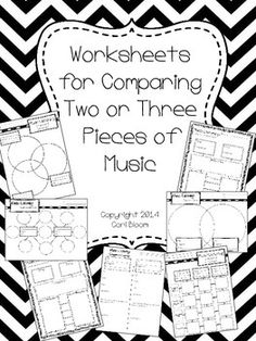 Worksheets for comparing 2 or 3 pieces of music, has 10 different generic worksheets can be used for Grades 1 thru 8.
