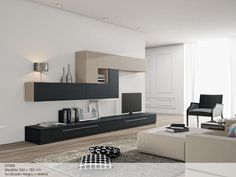 OT406Baja Living Comedor, Media Wall, Living Room Tv, Bookshelves, Home Office, Decoration, New Homes, Lounge, Couch