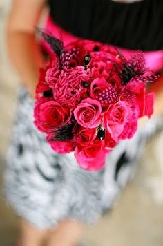 #pink #black #flowers