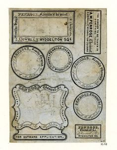 Penrose Chemist Labels-  cool lab set up labels from the British Museum..