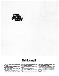 EXAMPLE OF WHITE SPACE/NEG SPACE               Original Think Small ad by Bill Bernbach