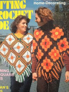 On the ubiquitous of unisex clothing in the 1970s. His and hers granny square ponchos, 1975. Fashion Archives and Museum of Shippensburg University)