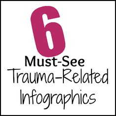 Infographics covering trauma and the results of trauma such at Post-Traumatic Stress Disorder (PTSD), Anxiety, and Depression