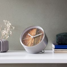 Structure Clock - Silver/Wood - by Cloudnola designed in the Netherlands #MONOQI
