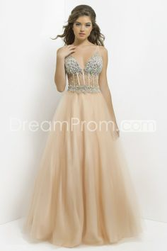 2014 Sexy Long V-Neck Sleevelessss Tulle Ball Gowns/ Prom Dresses