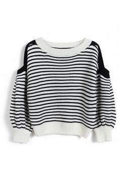 ROMWE Horizontal Stripe Elastic Black-white Jumper