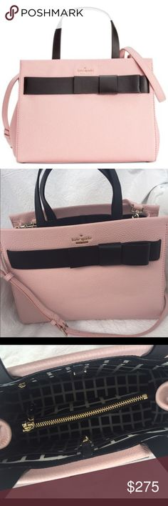 """Kate Spade Poplar Street Shelley Rose bag Only used a couple days, the bag is in perfect condition. Original price $428 from retail store, not an outlet bag. Measures 12.5""""X 9.5""""X 5.25"""" and comes with detachable crossbody strap and dustbag as well as tag and care card. Poplar Street Shelley in Rose with Black Bow kate spade Bags Satchels"""
