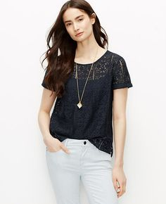 Image of Petite Graphic Lace Tee