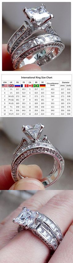 Diamond Ring, Vintage Women Men Couple Ring Set for Valentine's Day Gift By Litetao, Wedding Engagement Jewelry (A-6)