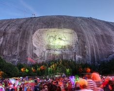 Stone Mountain, Georgia. The laser light show projected upon the Confederate Generals on the mountain is incredible, especially when the figures are outlined in light and gallop off the mountain!  - Google Search