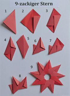 Sonne Oder 9 Zackiger Stern PapierZen Avec Origami Sterne Falten Anleitung Et C . - Sonne Oder 9 Zackiger Stern PapierZen Avec Origami Sterne Falten Anleitung Et C Birgit Ebbert 9 Zac - Gato Origami, Origami Diy, Design Origami, Origami Simple, Paper Crafts Origami, Useful Origami, Easy Paper Crafts, Origami Tutorial, Paper Crafting