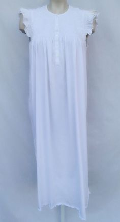 23c713251d P.jamas Fine Pima Cotton Hand Embroidered Smocked Ruffle Cap Gown Peru M   181