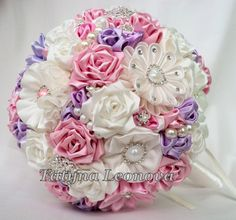 Original handmade Wedding Bouquet in a Ivory, Pink and Lilac. Flowers made ​​of satin ribbon, decorated with jewelry. Bouquet decorated with brooches. The