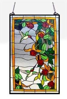 HUMMINGBIRD~Hummingbirds Stained Glass Window Panel 20x32 www.Southernleathers.com