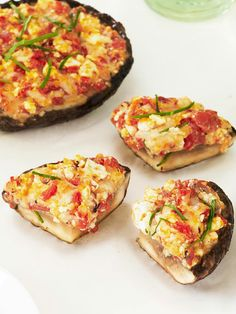 Grilled Stuffed Portobello Mushrooms -- This healthy living appetizer recipe is ready for serving in just 15 minutes time. It's sure to be a hit at your next get-together!