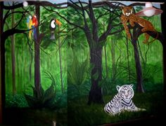 Jungle mural, one of my murals done in my home in Regina Saskatchewan in my childrens room. Playroom Mural, Kids Wall Murals, Murals For Kids, Bedroom Murals, Mural Wall Art, Jungle Art, Jungle Room, Jungle Safari, Camouflage Room