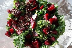 Beet & Kale Salad    Nutrients galore! Kale has anti-carcinogenic (anti-cancer) properties, beets are a unique source of the phytonutrient betalain, apples can help regulate blood sugar.  Hemp seeds are an excellent source of protein and omega fatty acids.