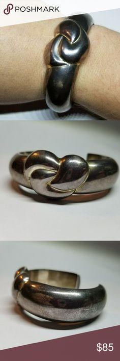 Sterling Silver Knot Cuff Sterling Silver Knot Cuff Marked 925 Hollow  Used  Needs a polish Jewelry Bracelets