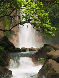 One of the many beautiful waterfalls in Costa Rica.