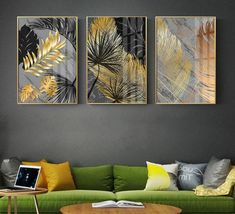 Scandinavian Style Marble Golden Leaf Art Plant Decoration Home – Everest Show ROOM Scandinavian Style, Horse Canvas Painting, Abstract Canvas Art, Living Room Paint, Living Room Decor, Art Pour Salon, Decoration Photo, Decoration Pictures, Images Murales