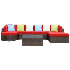 Modway Furniture Montana 5 Piece Sectional Set, Brown Red ($1,721) found on Polyvore