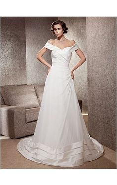 A-line Off-the-shoulder Chapel Train Chiffon Satin Wedding Dress