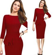 Herbst Winter Frauen Kleid Hülse Mit Drei Vierteln Frauen ... Formal Business Büro Kleid.... auf AliExpress.com | Alibaba Group