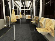 beautiful tram industrial design //chair public transport geometric